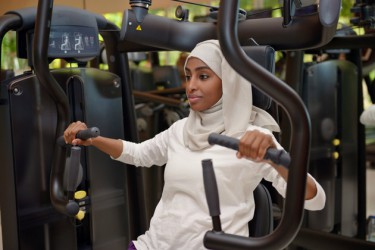 Young arab muslim women working out in a Gym