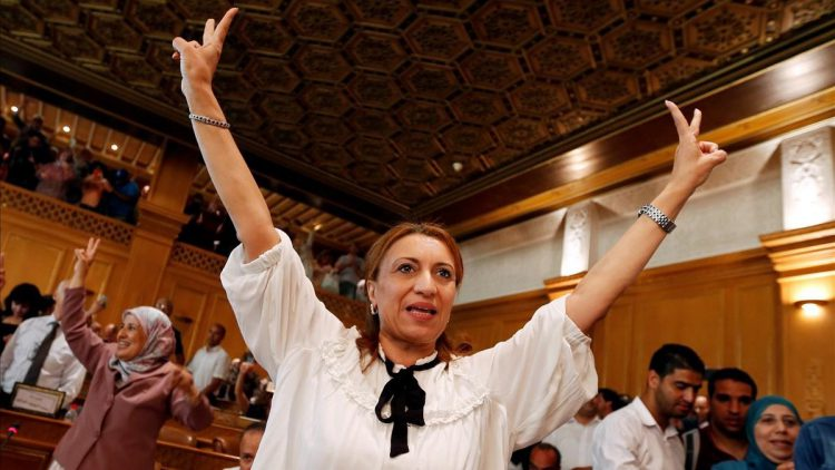 Souad Abderrahim  a candidate of the Islamist Ennahda party celebrates after being elected mayor of the city of Tunis  in Tunis  Tunisia July 3  2018  She is the first Tunisian woman to hold the post  REUTERS Zoubeir Souissi